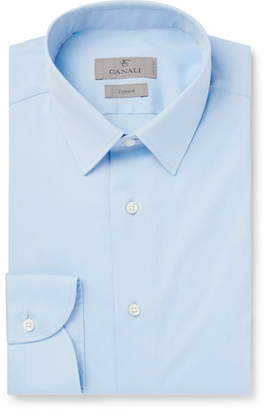 Canali Light-Blue Slim-Fit Cotton-Poplin Shirt - Light blue