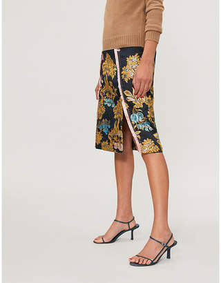 Peter Pilotto Fig tree-print metallic jacquard skirt