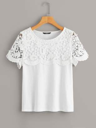 Shein Guipure Lace Detail Tee