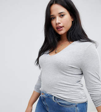 Asos DESIGN Curve ultimate top with long sleeve and v-neck in grey