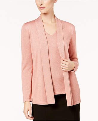 Kasper Open-Front Metallic Jacket