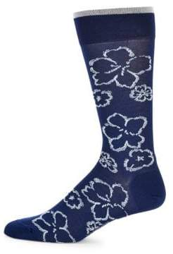 Floral Pima Cotton-Blend Dress Socks