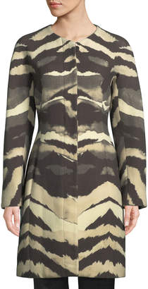 Roberto Cavalli Crewneck Printed Wool Car Coat