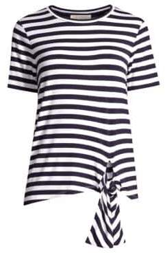 MICHAEL Michael Kors Women's Jersey Striped Tie-Hem Tee - True Navy White - Size XS