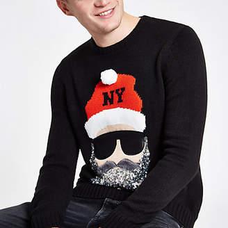 River Island Black sequin Santa face Christmas sweater