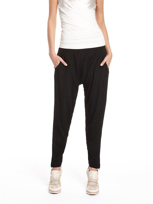 DKNY Ghost Crepe Harem Pant With Ankle Zip