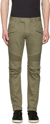 Balmain Green Biker Rib Jeans $1,240 thestylecure.com