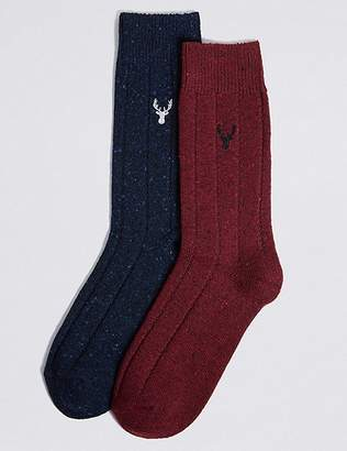 Marks and Spencer 2 Pack Thermal Wool Embroidered Socks