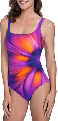 a58c2d818c Gottex Belle Fleur Square-Neck One-Piece Swimsuit