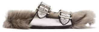 Prada Shearling Lined Leather Sandals - Womens - Silver