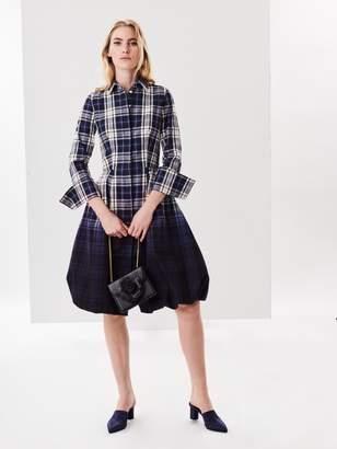 Oscar de la Renta Dip-Dyed Tartan Twill Shirtdress
