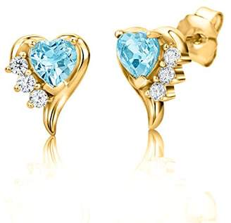 07405b3d2 at Amazon.co.uk · ByJoy Women's 925 Sterling Silver Heart Sky Blue Topaz  Rose Gold Plated Stud Earrings