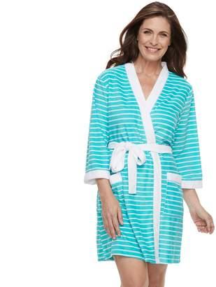 Croft & Barrow Women's Colorblock Trim Wrap Robe