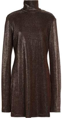 Ellery Metallic Ribbed-Knit Turtleneck Mini Dress