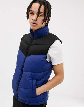 Pull&Bear quilted vest in blue