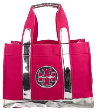 Tory Burch Metallic Leather-Trimmed Elle Tote