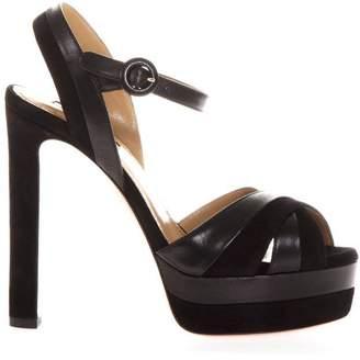 Aquazzura Black Suede & Leather Sandals