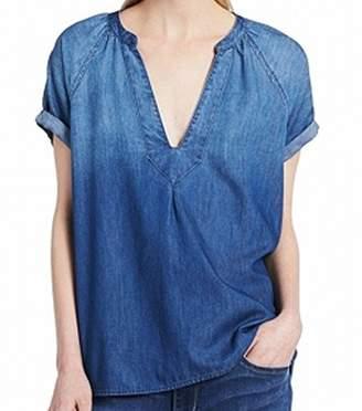 Calvin Klein Jeans Women's Short Sleeve Denim Shirt with Hi-Low Hem Wash