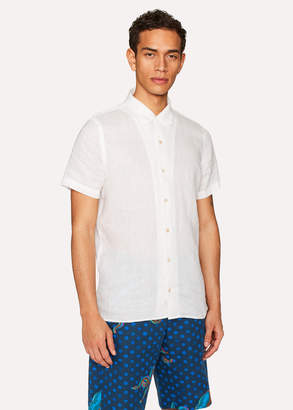 Paul Smith Men's Classic-Fit White Linen Short-Sleeve Shirt