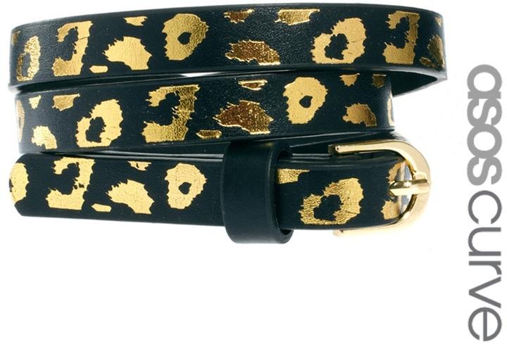 Asos Metallic Leopard Print Waist Belt