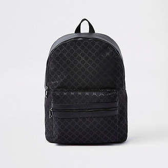River Island Black faux leather RI monogram backpack