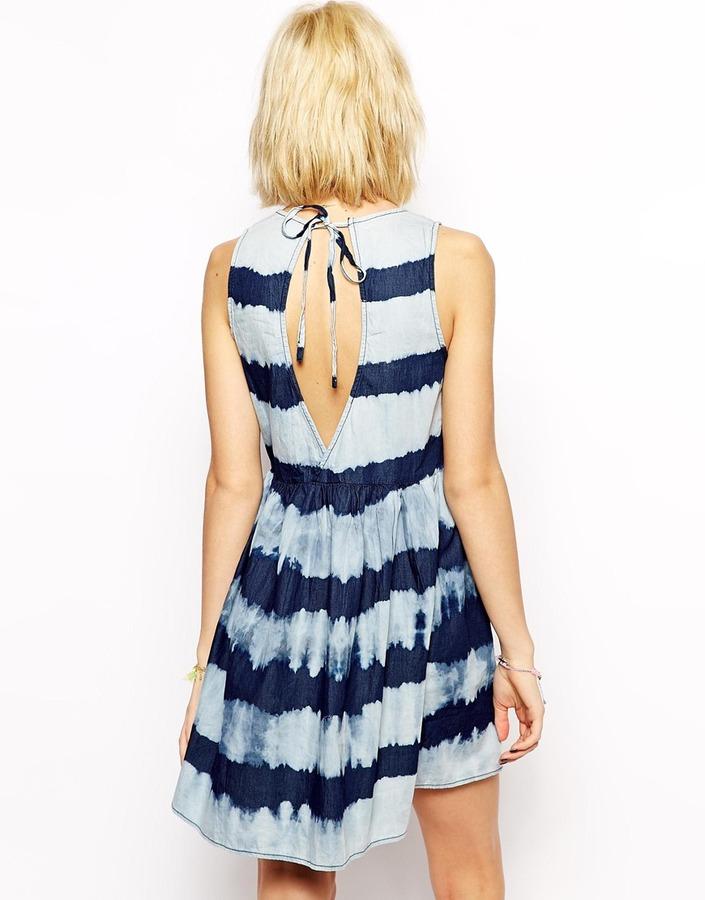 MANGO Denim Striped Dress