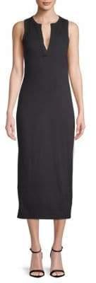 James Perse Split Neck Cotton Tank Dress