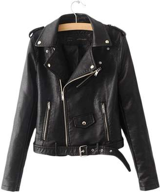 XXXITICAT Women's Slim PU Leather Coat Moto Leather Jacket(YE,L)