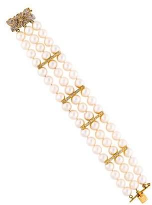 14K Pearl & Diamond Triple Strand Bracelet yellow 14K Pearl & Diamond Triple Strand Bracelet