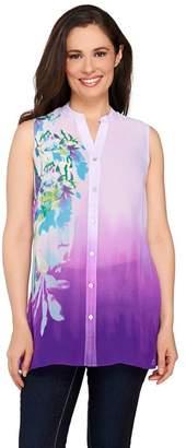 Susan Graver Printed Sheer Chiffon Sleeveless Shirt