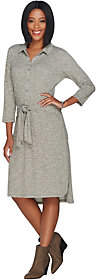 Halston H by Petite Rib Knit Button Front Dresswith Tie