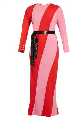 ATTICO Envers diagonal-striped crepe dress