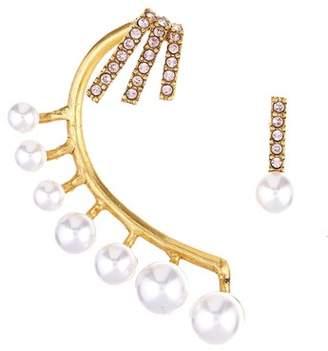 Oscar de la Renta Floating Pearl Cuff Earrings