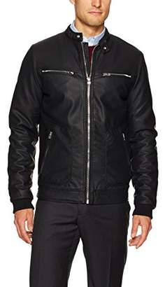 X-Ray Men's Slim Fit Faux Leather Jacket with Perforated Pu Trim