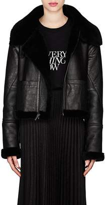 Saint Laurent Women's Leather & Shearling Asymmetric-Zip Jacket