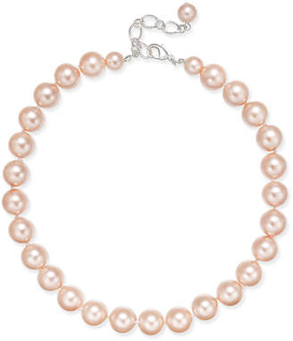 Charter Club Silver-Tone Imitation Pink Pearl Collar Necklace