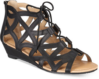 Esprit Cacey Lace-Up Wedge Sandals $49 thestylecure.com