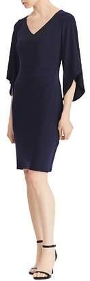 Ralph Lauren Flutter-Sleeve V-Neck Dress