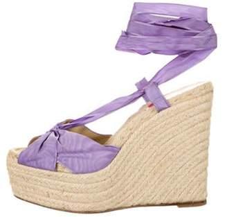 Christian Louboutin Wrap-Around Wedge Sandals Purple Wrap-Around Wedge Sandals