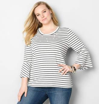 Avenue Pearly Striped French Terry Top
