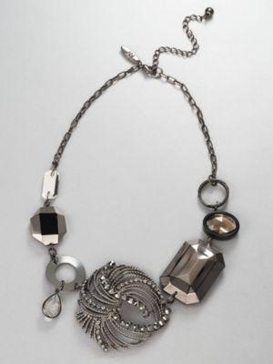 City Style Swirl Brooch Necklace