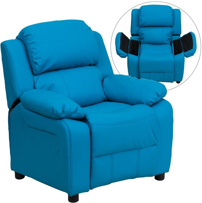 Flash Furniture Deluxe Heavily Padded Contemporary Turquoise Vinyl Kids Recliner with Storage Arms