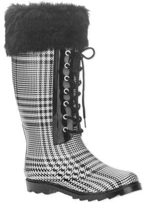 FOREVER YOUNG Forever Young Women's Faux Fur Lace-up Checkered Tall Rain Boot