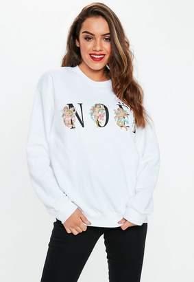 Missguided White Cherub Noel Graphic Sweatshirt, White