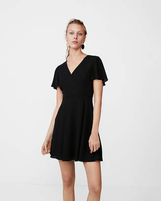 Express Petite Surplice Flutter Sleeve Fit And Flare Dress