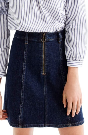 Women's J.crew Zip Front Denim Skirt