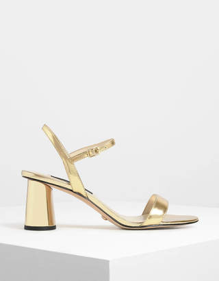 Charles & Keith Cylindrical Block Heel Metallic Leather Sandals