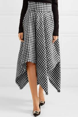 Dolce & Gabbana Asymmetric Houndstooth Wool-blend Midi Skirt - Black
