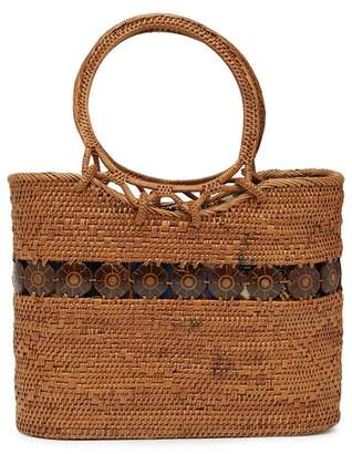 Pink Haley Faith Straw Woven Basket Tote