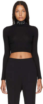 Emilio Pucci Black Cropped Rib Turtleneck Sweater